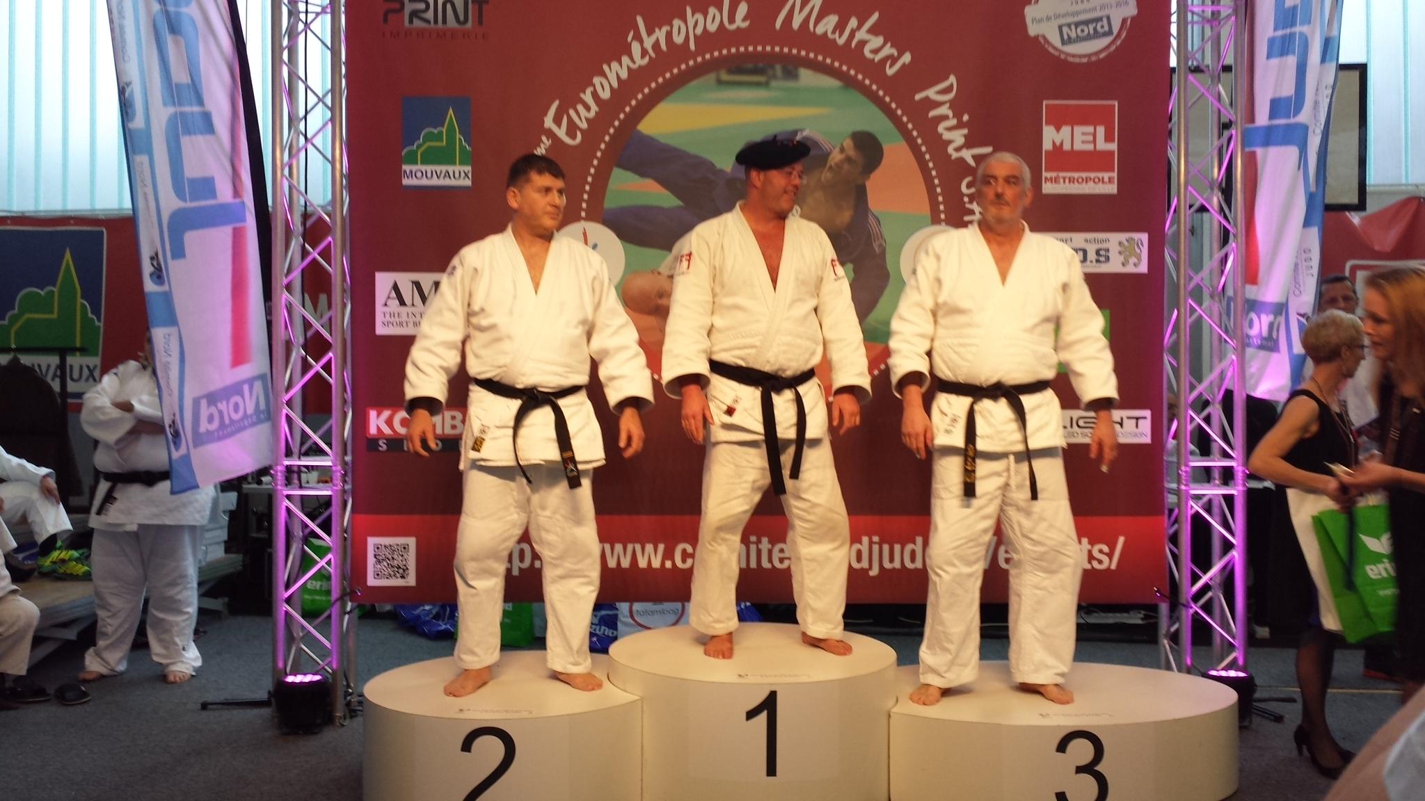 podium  Jean-Marc Pace, médaille d'argent à l'Eurométropole Masters Vétérans de Lille en catégorie M5 +100kg