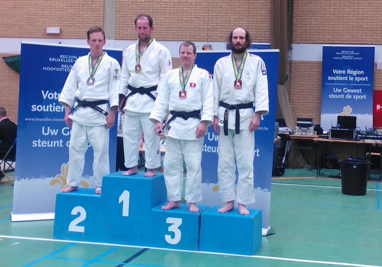 podium Yves Parin 14th Brussels Belgium Judo Master